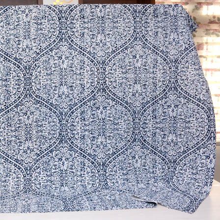 Cream and Blue Floral Design Handmade Kantha Quilt-4338
