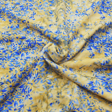 Cream and Blue Flower Pattern Crepe Fabric-18077