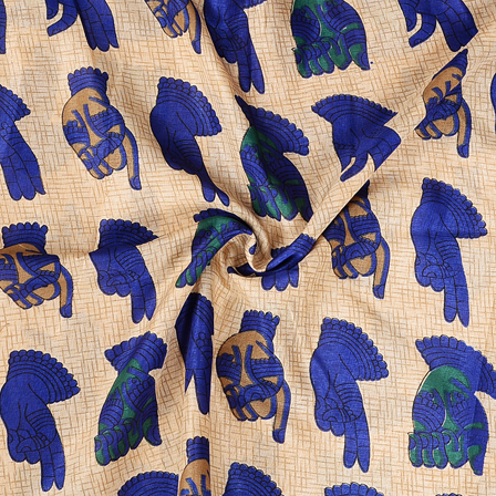 Cream and Blue Hand Mudra Pattern Manipuri Kalamkari Silk Fabric-16185