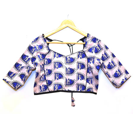 Cream and Blue Horse Kalamkari Print Cotton Blouse-30052