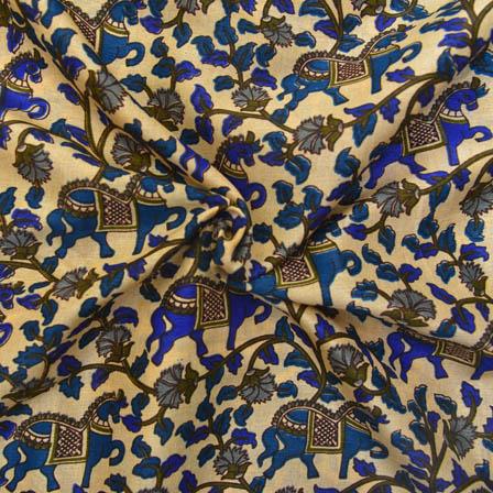 Cream and Blue Horse Pattern Kalamkari Manipuri Silk-16066