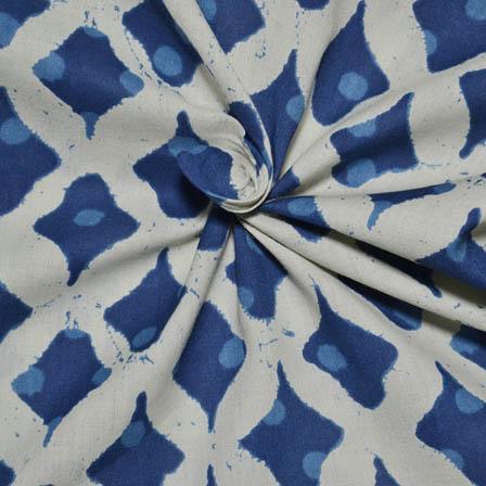 Cream and Blue Square Shape Dabu Block Print Cotton Fabric-14017