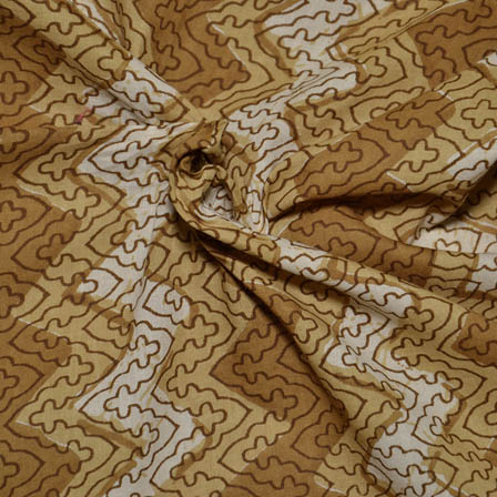 Cream and Brown Zig Zag Pattern Block Print Cotton Fabric-14018