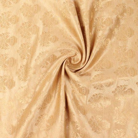Cream and Golden Brocade Silk Fabric-8882