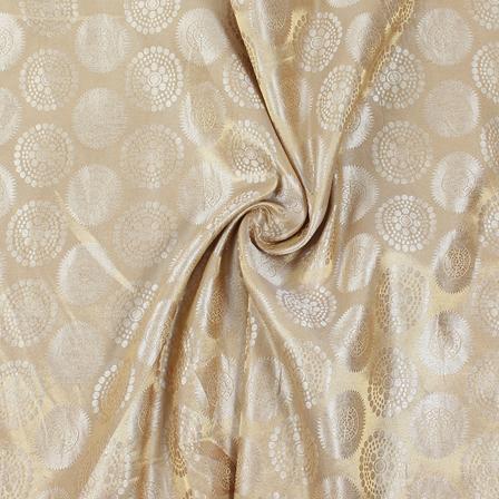 Cream and Golden Circular Brocade Silk Fabric-8845
