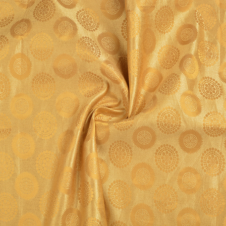 Cream and Golden Circular Silk Satin Brocade Fabric-8698