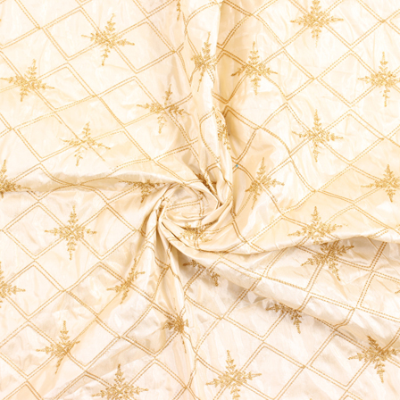 Cream and Golden Embroidery Silk Fabric-60912