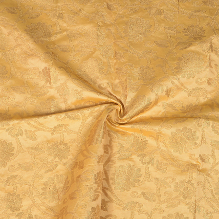 Cream and Golden Flower Design Two Tone Banarasi Silk Fabric-8427
