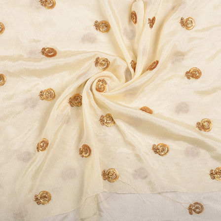 Cream and Golden Flower Malbari Embroidery Silk-60710
