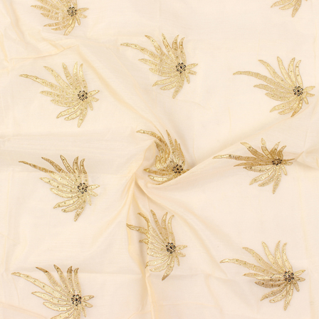 Cream and Golden Flower Pattern Silk Embroidery Fabric-60134