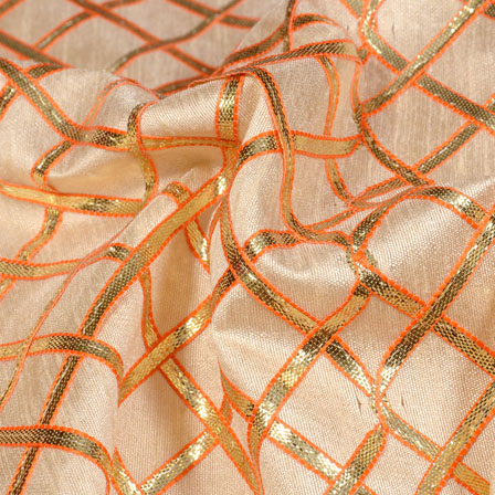 Cream and Golden Gota Patti Square Pattern Brocade Silk Fabric-5428