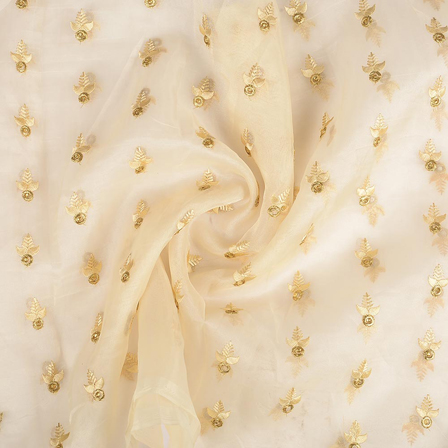 Cream and Golden Leaf Design Embroidery Organza Fabric-50063