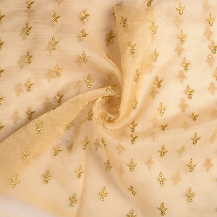 Cream and Golden Organza Embroidery Fabric-51209