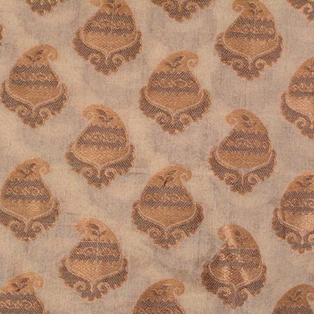 Cream and Golden Paisley Pattern Chanderi Fabric-4384