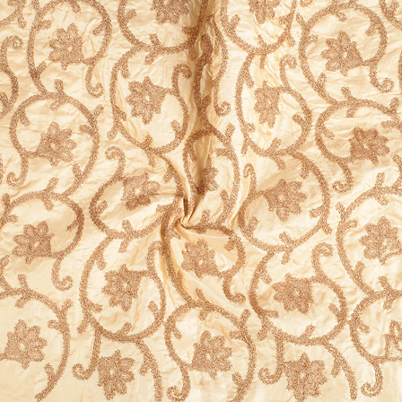 Cream and Golden Paper Silk Embroidery Fabric-60602