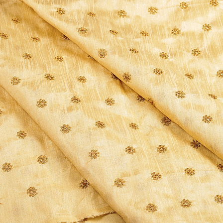 Cream and Golden Satin Embroidery Fabric-60631