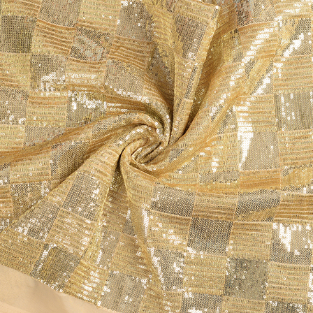 Cream and Golden Shiny Sequin Fabric-60638