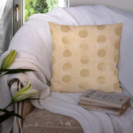 Cream and Golden Silk Cushion Cover-35052