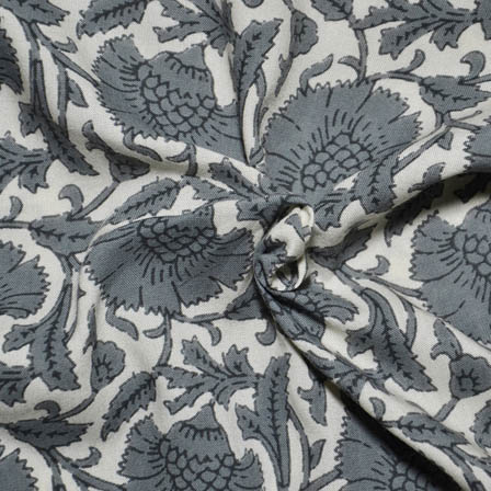 Cream and Gray Flower Design Kalamkari Rayon Fabric-15024