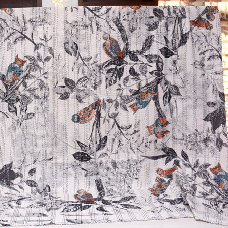 Cream and Gray Handmade Birds Design Kantha Quilt-4373