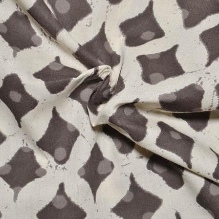 Cream and Gray Square Design Dabu Block Print Cotton Fabric-14016