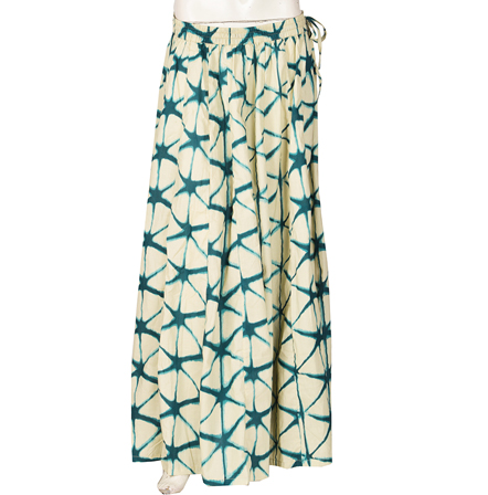 Cream and Green  Block Print Cotton Long Skirt-23080