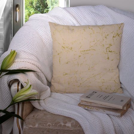Cream and Green Cotton Cushion Cover-35009