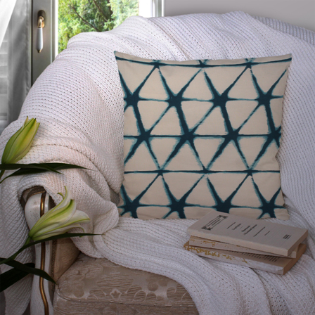 Cream and Green Cotton Cushion Cover-35012