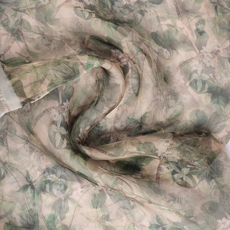 Cream and Green Digital Organza Fabric-51235