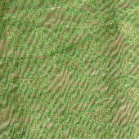 Cream and Green Floral Pattern Chiffon Indian Fabric-4370