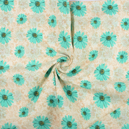 Cream and Green Flower Design Block Print Fabric-14418