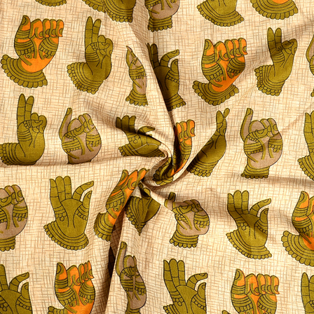 Cream and Green Hand Mudra Design Manipuri Kalamkari Silk Fabric-16184