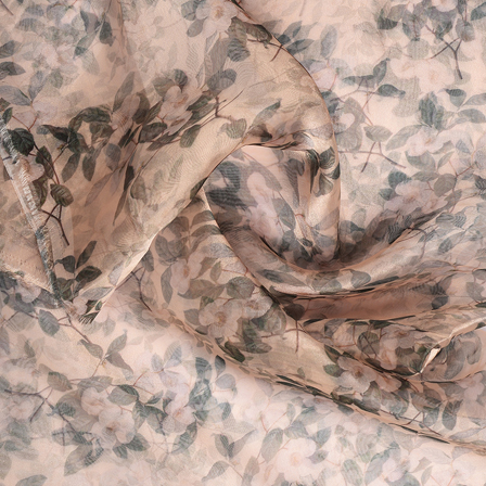 Cream and Green Leaf With Flower Digital Organza Fabric-51229