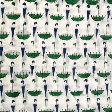 Cream and Green Umbrella Pattern Indian Block Print Fabric by the yard