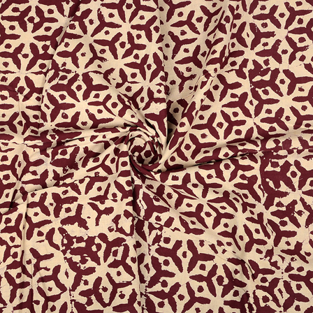 Cream and Maroon Cotton Block Print Fabric-14358