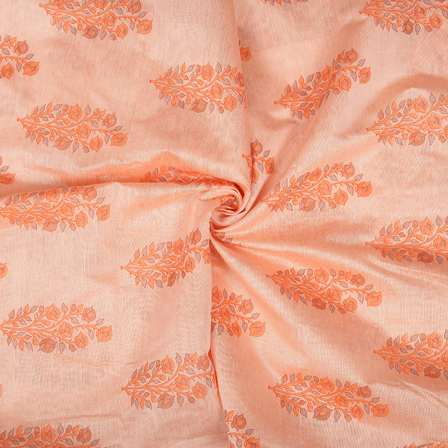 Cream and Orange Flower Design Silk Chanderi Fabric-9032
