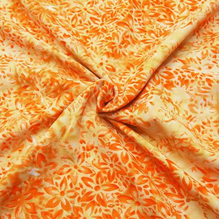 Cream and Orange Flower Pattern Crepe Fabric-18078