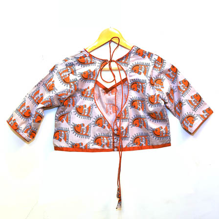 Cream and Orange Horse Face Kalamkari Print Cotton Blouse-30043