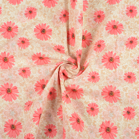 Cream and Pink Flower Design Block Print Fabric-14419