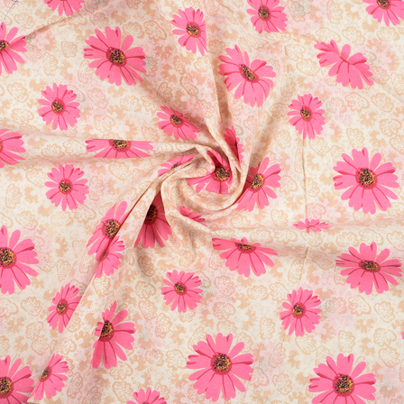 Cream and Pink Flower Pattern Block Print Fabric-14417