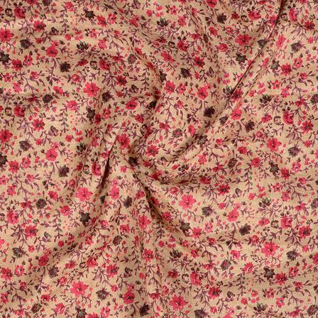 Cream and Pink Flower Pattern Kalamkari Manipuri Silk Fabric-16281