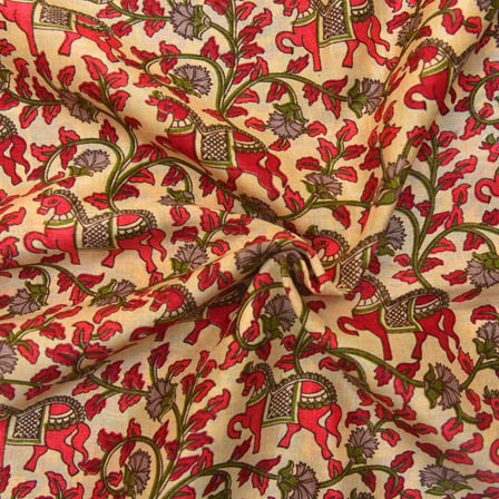 Cream and Pink Horse Pattern Kalamkari Manipuri Silk-16063