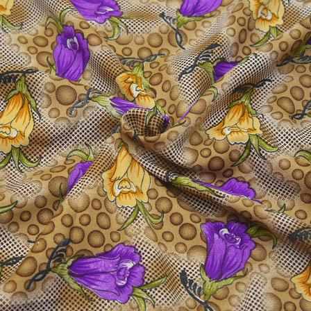 Cream and Purple Floral Design Crepe Fabric-18065