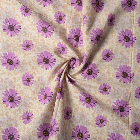 Cream and Purple Flower Design Block Print Cotton Fabric-14439