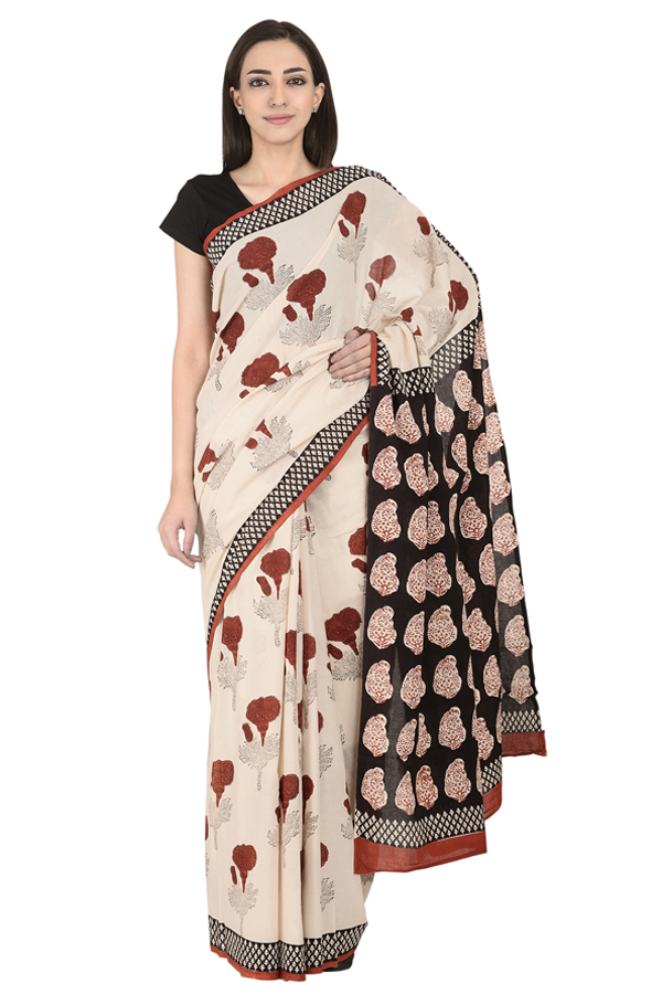 Cream and Red Floral Design Cotton Block Print Saree-20101