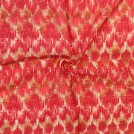 Cream and Red Unique Pattern Kota Doria Fabric-25044