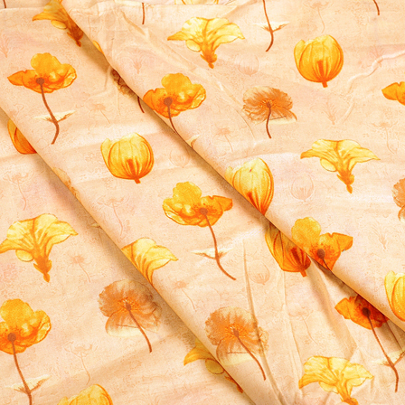 Cream and Yellow Floral Jam Cotton Silk Fabric-75105