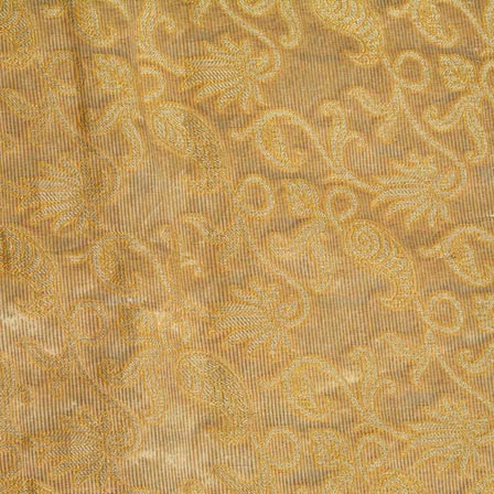 Cream and Yellow Floral Pattern Chiffon Indian Fabric-4372