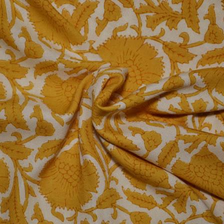 Cream and Yellow Flower Pattern Kalamkari Rayon Fabric-15002
