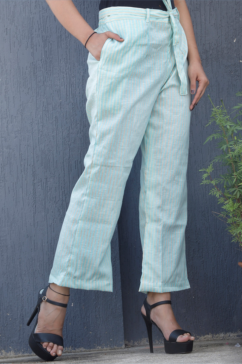 Cyan Black Cotton Stripe Pant with Belt-34068